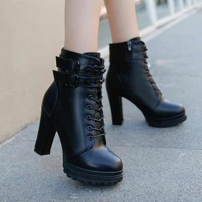 Womens Motorcycle Boots Lace Up With Dubble Strap High Heel Boots