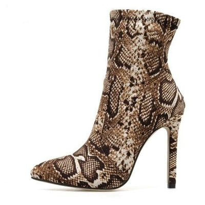 Women's Ankle Boots Leopard Print Pointed Toe Heeled Booties Zipper