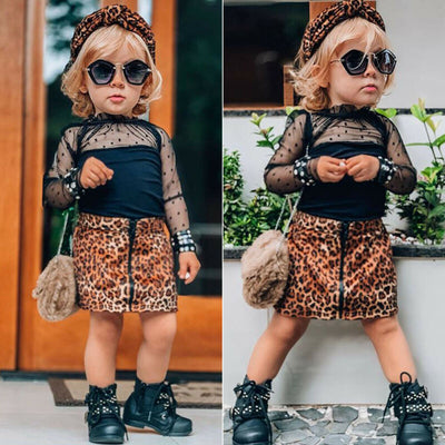 2Pcs. Set Long Sleeve Ruffles Lace Tops T Shirt Leopard Print Skirt