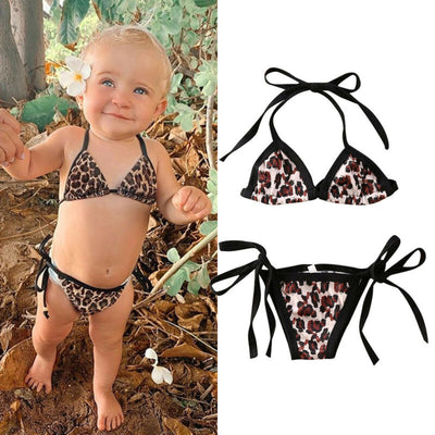 2Pcs Baby Girls Halter Bikini Leopard Printed Bathing Suit Swinwear