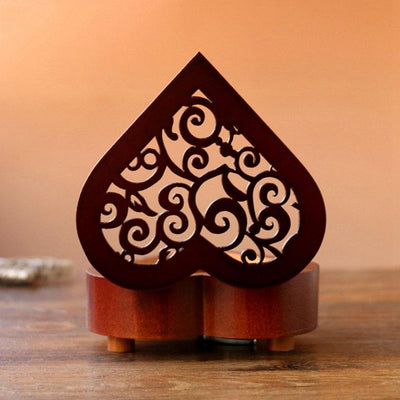 Heart Shaped Vintage Wood Carved Mechanism Musical Box