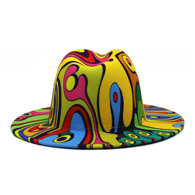 Unisex Colorful Wide Brim Wool Felt Fedora Pharrell Hat