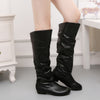 Women Faux Leather Knee High Flat Slouch Stretch Boots