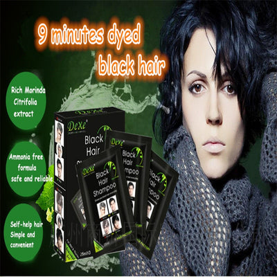 10pcs/lot DEXE Black Hair Dye Hair Shampoo 5 Minutes Grey Become Black