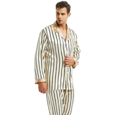 Plus Size Men Pajamas Set Silk Satin Stripped Long Sleeve Top & Pants