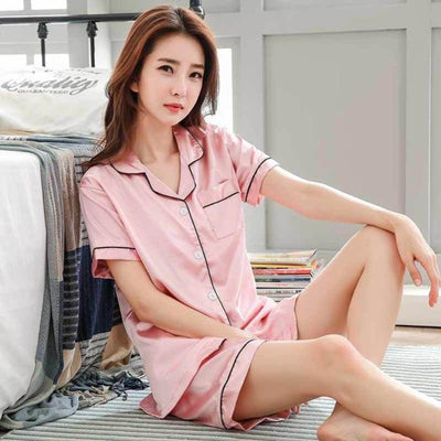 Lady Silk Satin Sleepwear Set Short Sleeve Top And Shorts Plus Size