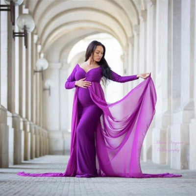 Maternity V Neck Off Shoulder Long Sleeve Maxi Photography Dress