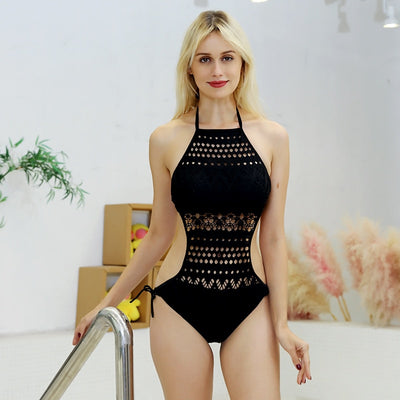 Sexy One Piece Crochet Lace Halter Straps Hollow Out Backless Swimwear