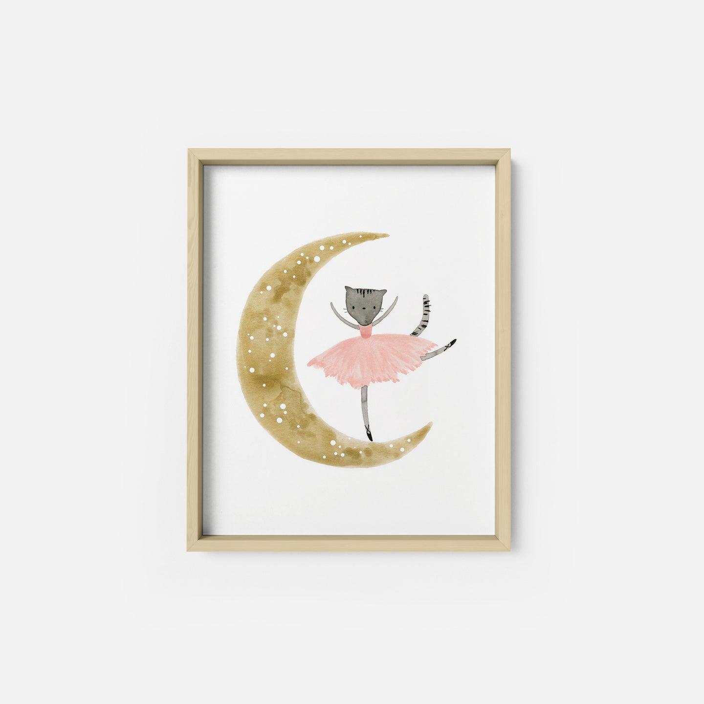 Ballet Kitty on the Moon Art Print