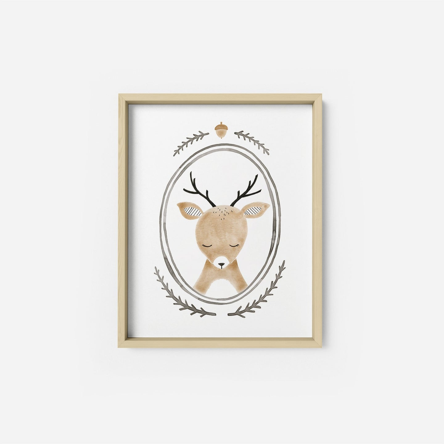 Oval Deer Portrait Art Print