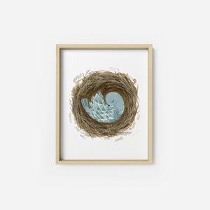 Sleeping Blue Bird Art Print