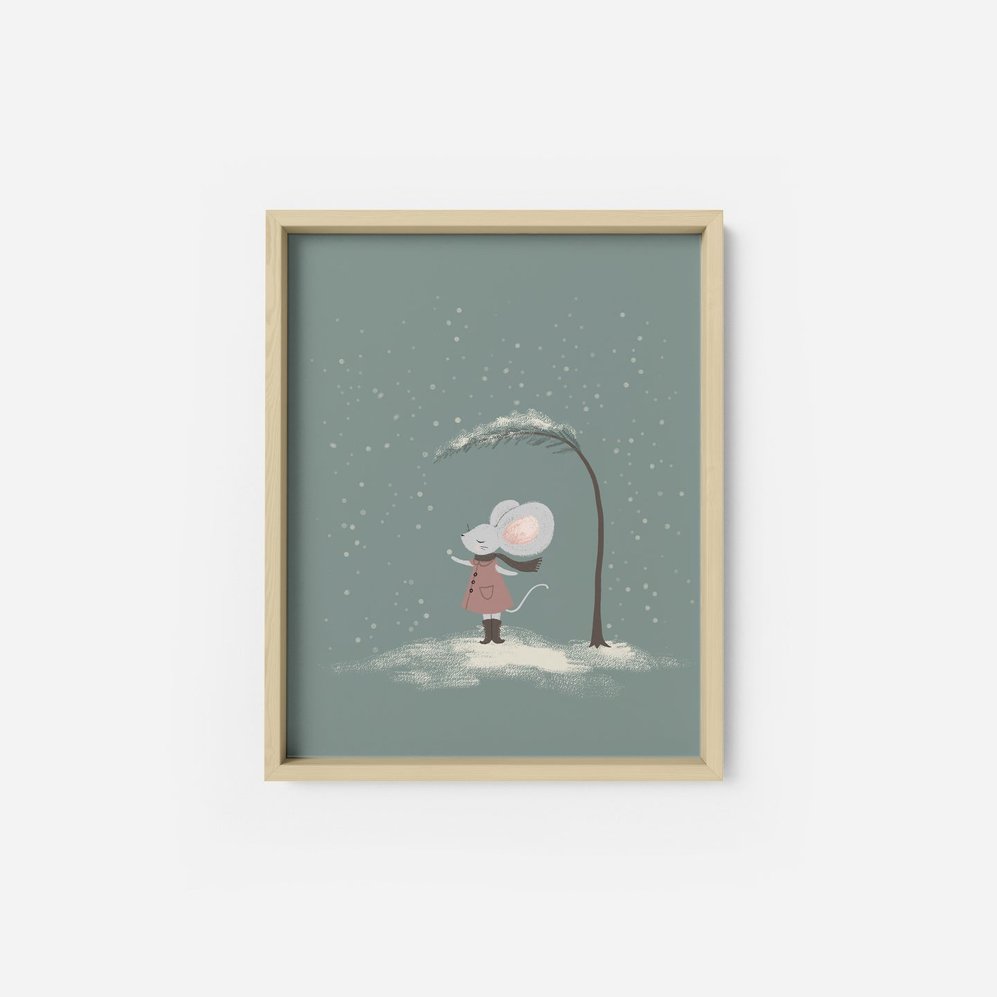 Snow Day Mouse Art Print