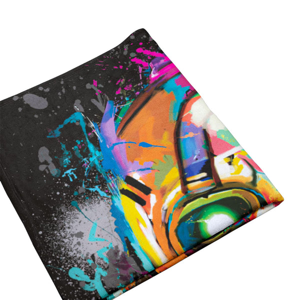 Psycho Bandit Graffiti Mask Throw Blanket