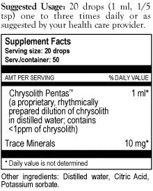Chrysolith Pentas Supplement Facts
