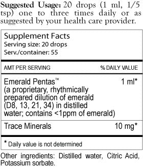 Emerald Pentas Supplement Facts