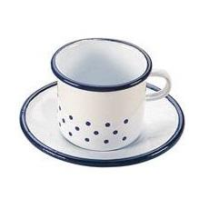 Gluckskafer | Enamel Cup and Saucer