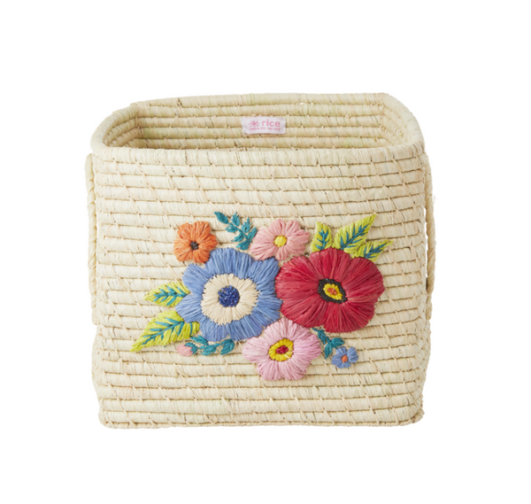Rice | Raffia Square Basket - Natural - Flower Embroidery