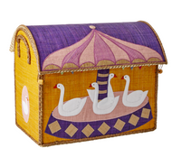 Rice | Carousel Raffia Toy Storage Basket - Medium