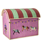 Rice | Carousel Raffia Toy Storage Basket - Large