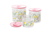 Rice | Plastic Food Boxes with Lupin Print - Set of 3 - Airtight Lid