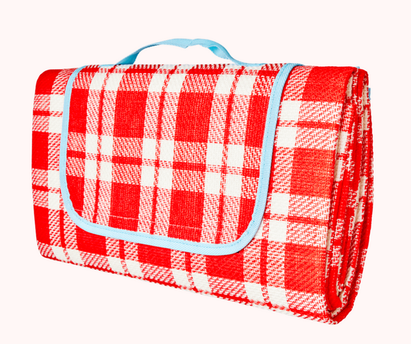 Rice | Checked Picnic Blanket - Red and Cream