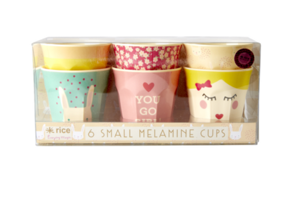 Rice | Set of 6 small melamine curved cups - Rabbit