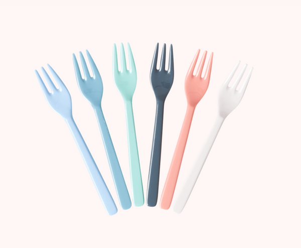 "Rice | Bundle of 6 Melamine Cake Forks ""Happy 21st"" Assorted Colours"