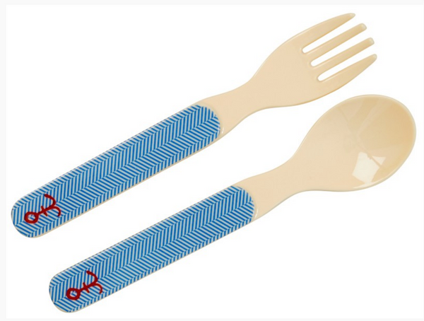Rice | Kids Melamine Spoon and Fork with Sailor Stripe and Anchor Print