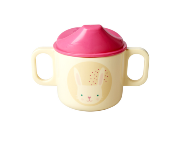 Rice | Melamine Baby Cup with 2 Handles and Lid - Rabbit Print