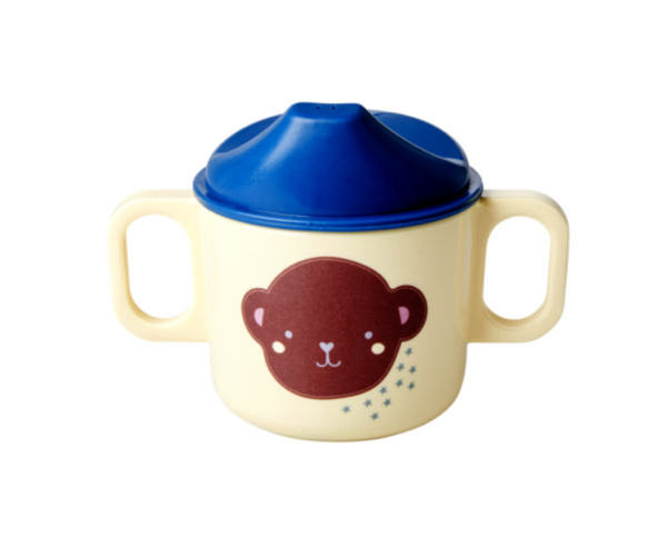 Rice | Melamine Baby Cup with 2 Handles and Lid - Monkey Print