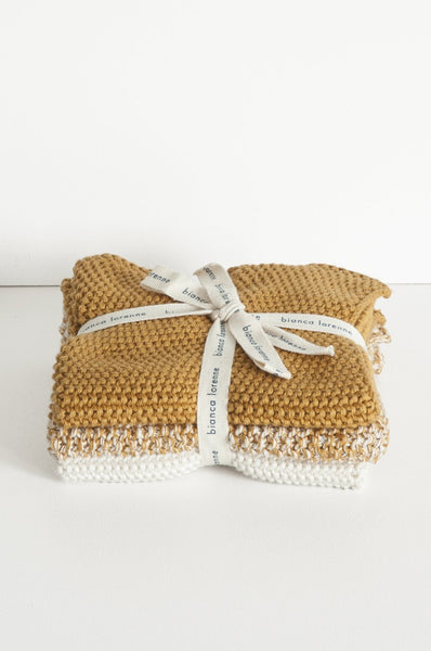 Bianca Lorenne | Cotton Wash clothes set of 3 - Ochre