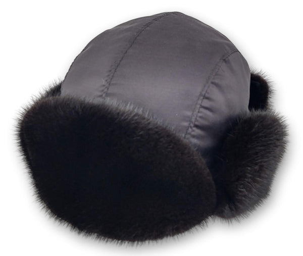Hat with Mink - Textile - Accesories - Black (Hue) | STAMPE PELS