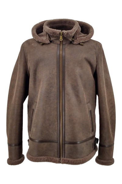 ACA, 70 cm., Mens Jacket - Hood - Nappa Lamb Crack Washed - Man - BrownPelsjakke | STAMPE PELS