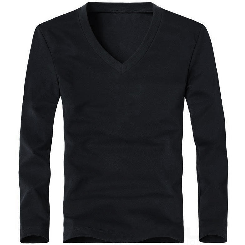 low price excellent quality best place Men's Classic Basic Solid V-Neck Long Sleeve Slim Fit Tee Shirt