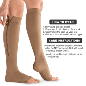 Zipped™ Open Toe Compression Socks
