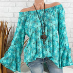 Shoulder Off Printing Casual Blouse