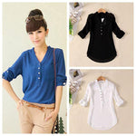 Women Chiffon V-Neck Casual Blouse