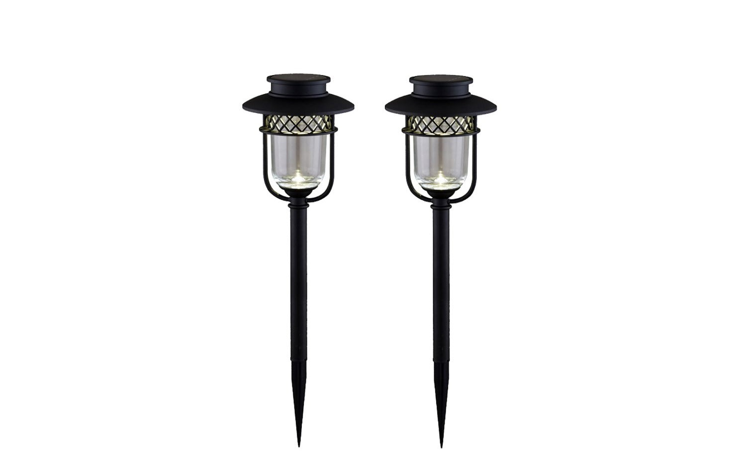 BLACK STAINLESS STEEL LANDSCAPE, PATH & GARDEN LIGHT - 2 PK
