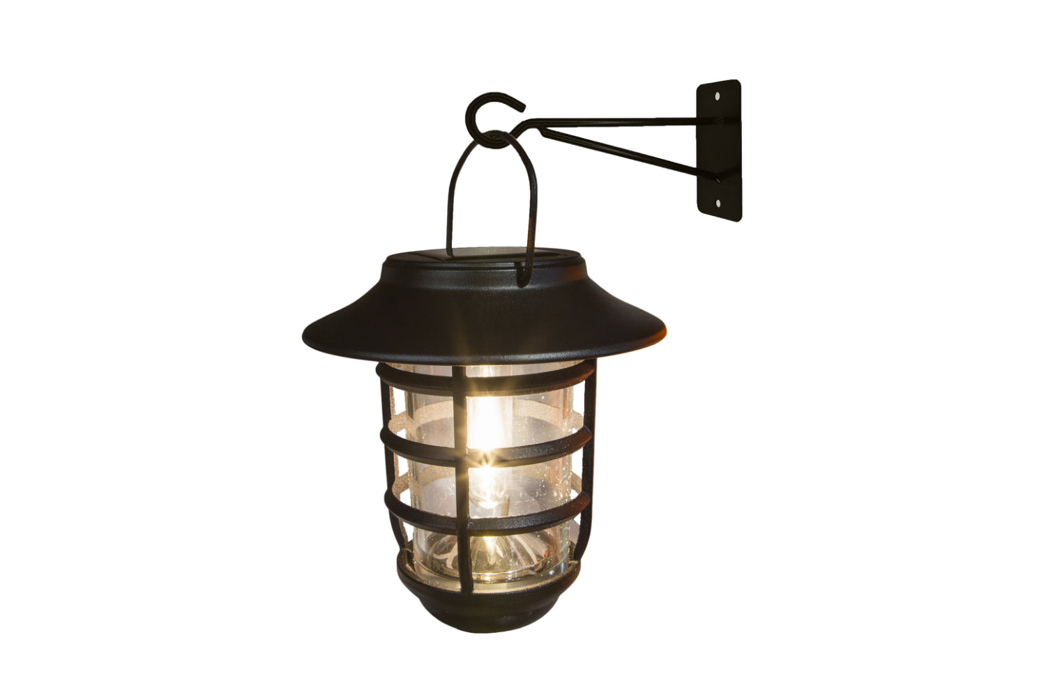 BLACK ALUMINUM NOTTINGHAM SOLAR HANGING COACH LIGHT