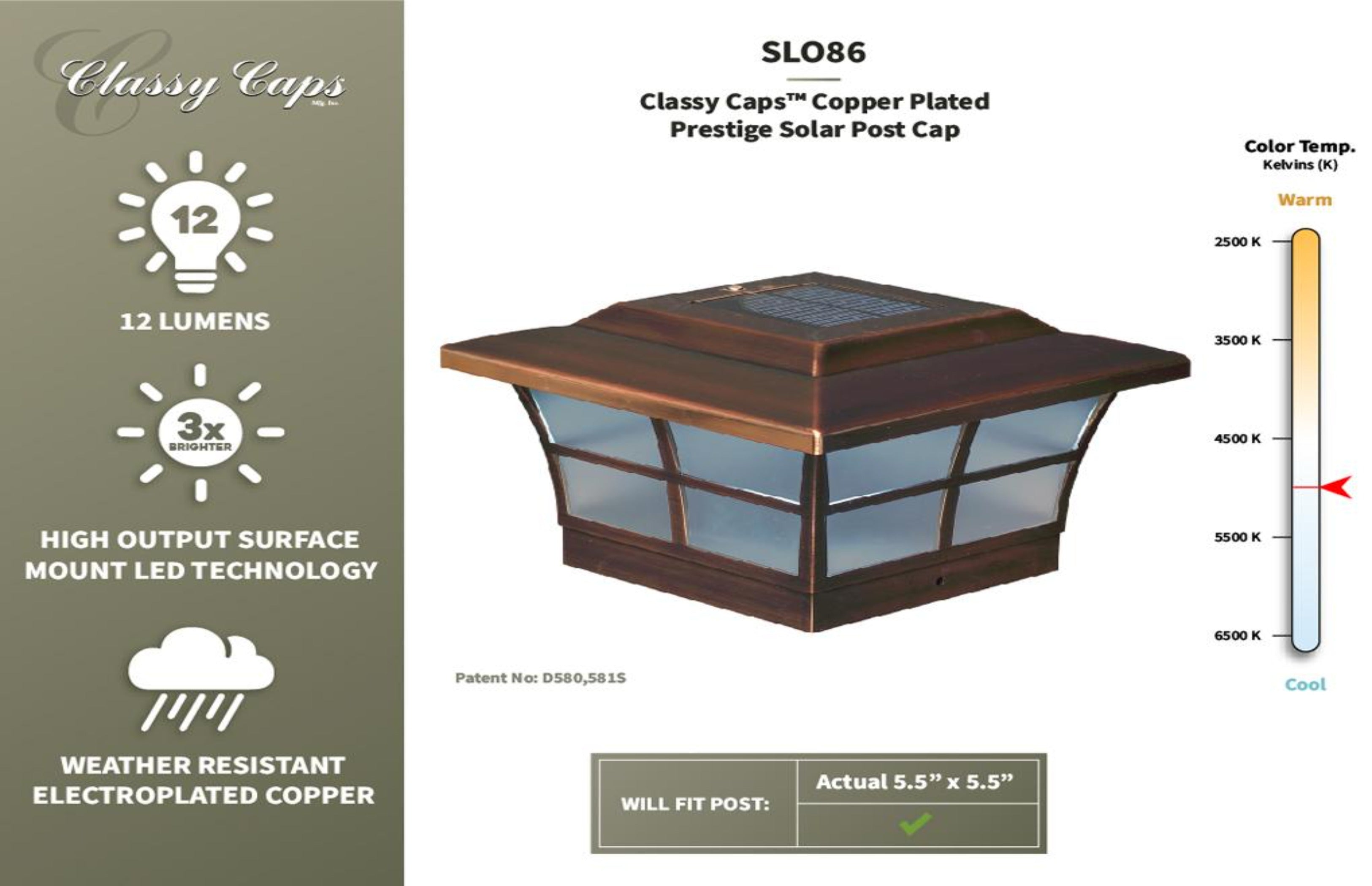 COPPER PLATED PRESTIGE SOLAR POST CAP