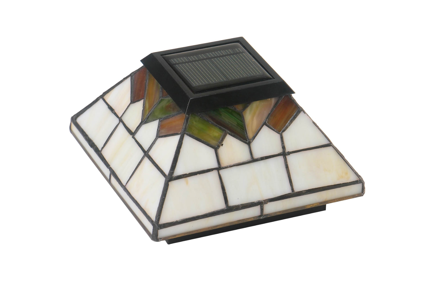 STAINED GLASS WELLINGTON SOLAR POST CAP