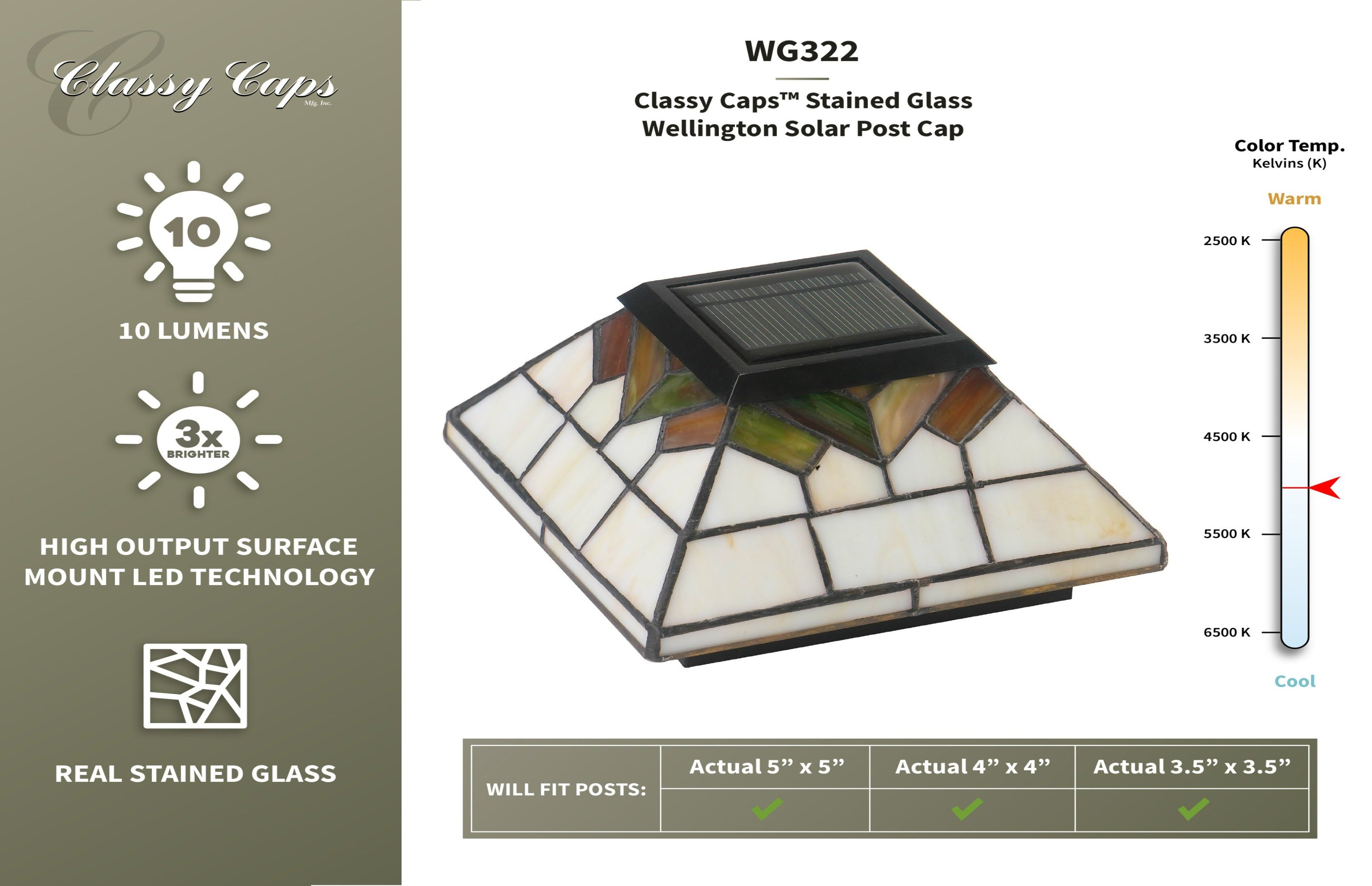 STAINED GLASS WELLINGTON SOLAR POST CAPSTAINED GLASS WELLINGTON SOLAR POST CAP