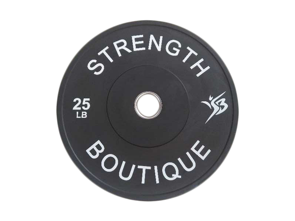 25 lbs Rubber Bumper Plate - Black - Sold individually