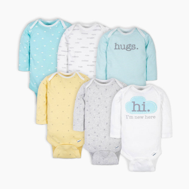 Gerber Long Sleeve Printed Onesies Bodysuits (6 Pack)