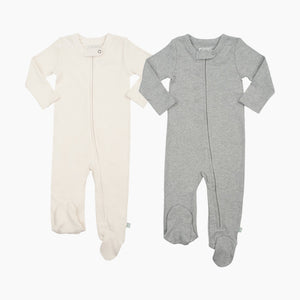 Finn + Emma Organic Cotton Basics Zipper Footie (2 Pack)