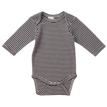Load image into Gallery viewer, Nature's Basics Long Sleeve Bodysuit - Navy Stripes