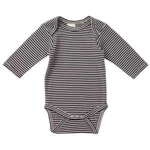 Nature's Basics Long Sleeve Bodysuit - Navy Stripes