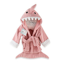 "Load image into Gallery viewer, Baby Aspen ""Let the Fin Begin"" Shark Robe - Pink"
