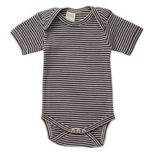 Load image into Gallery viewer, Nature's Basics Short Sleeve Bodysuit - Navy Stripes