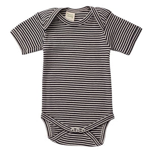 Nature's Basics Short Sleeve Bodysuit - Navy Stripes